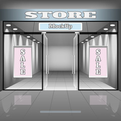 realistic store or office interior template. Boutique illustration with shopwindow, shelves, banners.