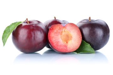 Pflaumen Pflaume blau geschnitten frische Früchte Frucht Obst F