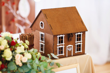Small model of house, wedding table decoration