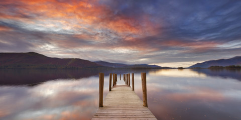 Flooded jetty in Derwent Water, Lake District, England Wall mural
