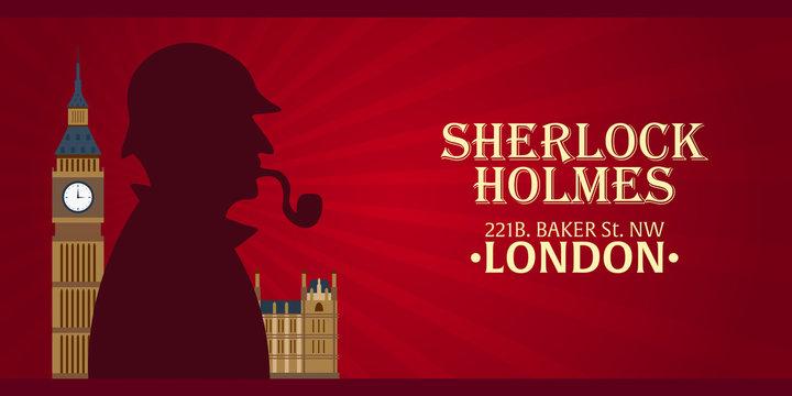 Sherlock Holmes poster. Detective illustration. Illustration with Sherlock Holmes. Baker street 221B. London. Big Ban