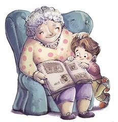 abuela con su nieto en sillon