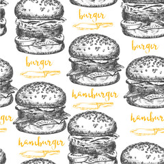 Burger seamless pattern background.