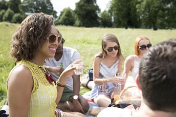 Friends Enjoying Drinks On Countryside Picnic