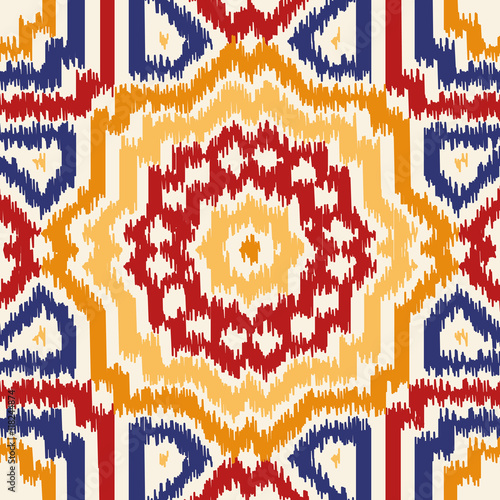 Ikat Fabric Pattern Abstract Geometric Seamless Vector Background Illustration