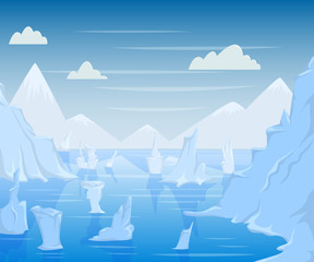 Polar landscape with mountains and icebergs. Vector illustration