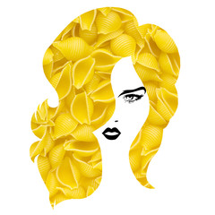 Pasta hairstyle / Creative concept photo of a woman with pasta hairstyle on white background.