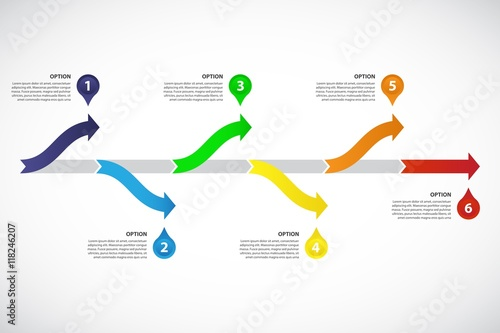 decision tree timeline vector infographic template consisting of 6 bright arrows