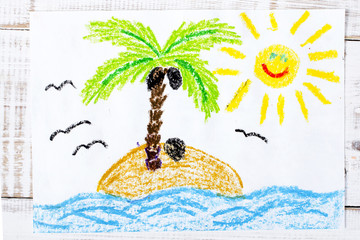 colorful drawing: a desert island