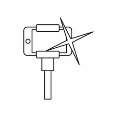 Taking pictures on smartphone on selfie stick icon in outline style isolated on white background. Device symbol vector illustration