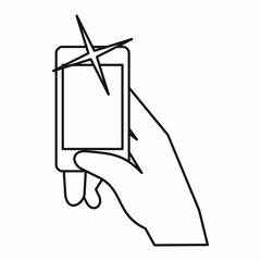Hand taking pictures on cell phone icon in outline style isolated on white background. Device symbol vector illustration