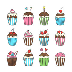 Cupcake set colorful isolated vector illustrations hand drawn doodle.