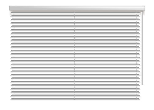 Horizontal window blind. White office interior blackout shade. Window shutter decor. Home interior design. Vector illustration. Background realistic window sunlight blinds closed. Office accessories.