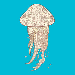 Hand-drawn and painted decorative jellyfish in zentangle style. Vector graphics.
