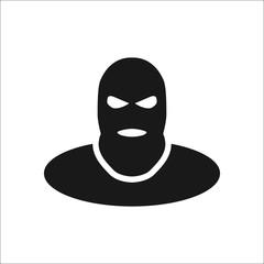 Terrorist thief in balaclava sign simple icon on background