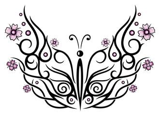 Großer Schmetterling mit Kirschblüten im Tribal Style.
