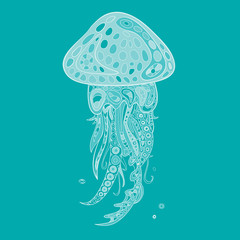 Hand-drawn and painted decorative jellyfish in zentangl style. Vector graphics.