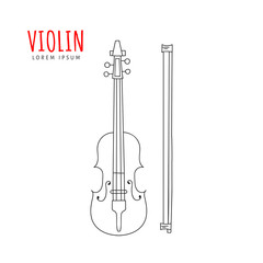 Violin vector illustration hand drawn doodle isolated. Musical instrument sketch. Music icon.