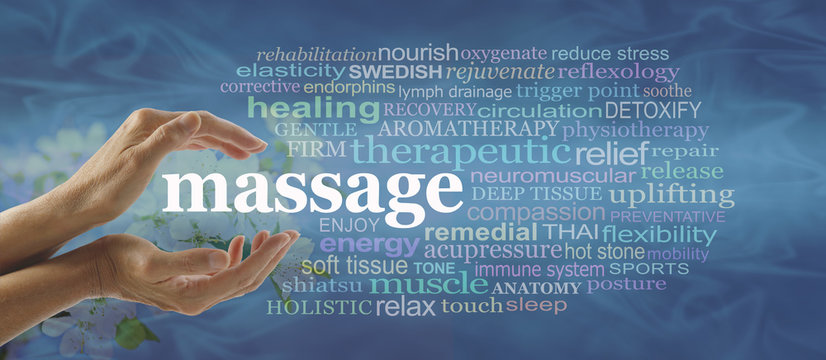 Blue massage word cloud - Female hands gently cupped around the word MASSAGE surrounded by a relevant word cloud on a flowing blue pattern background with faded blossom behind hands