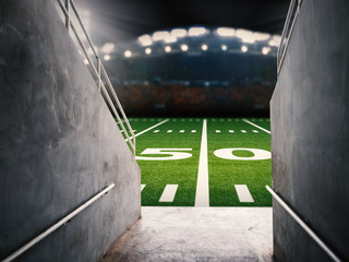 arena tunnel in american football stadium