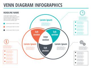 Venn diagram circles infographics template design. Vector overlapping shapes