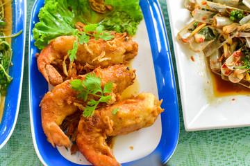 Close-Up of Thai Deep-Fried River Prawns with Tamarind Sauce
