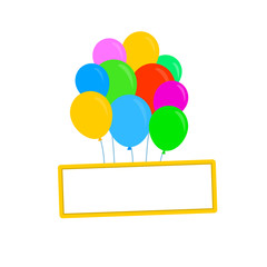plate on balloons. Frame hanging on colored balloons