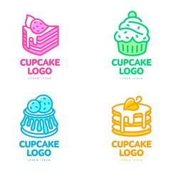 Set of cupcake logos, vector illustration isolated on white background. Bakery sweets cake store coffee shop logo, creative confectionary symbol. Colorful outline cupcake icon
