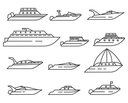 water transport set. Yacht, ship and motor boats collection. various types of maritime transport. Thin line design