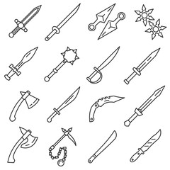Edged weapons icons set. Cold steel arms. Collection of military weapons: swords, axes, knives, kunai, shuriken, mace.