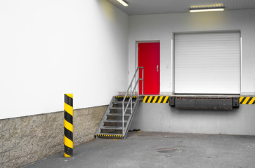 Loading dock for loading and unloading of goods, merchandise, item, article and commodity from truck and lorry to storehouse and warehouse. Part of industrial or commercial building