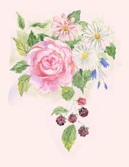 акварельное изображение розы и полевых цветов.Свадебное приглашение в стиле гранж.Летняя открытка.