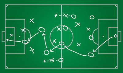 Soccer or football plan template. Realistic blackboard drawing game strategy. Vector illustration.
