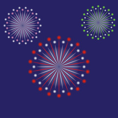 Fireworks. Vector illustration of Colorful salute on blue background. Celebrate design elements.