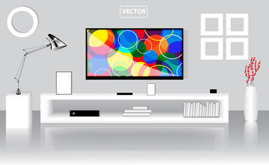 Modern bright room with flat TV set, low shelf. Graphic template