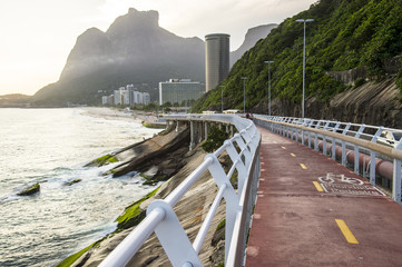 Scenic view from the newly finished coastal ciclovia bike path connecting the neighborhoods of Ipanema and Sao Conrado (and to Barra beyond) in Rio de Janeiro, Brazil