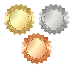 vector blank glossy serrated medals of gold, silver and bronze t