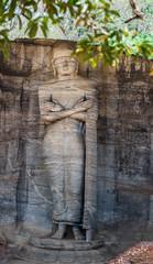 Ancient City of Polonnaruwa, Buddha standing on lotus plinth at Gal Vihara Rock Temple (Gal Viharaya), UNESCO World Heritage Site, Sri Lanka,
