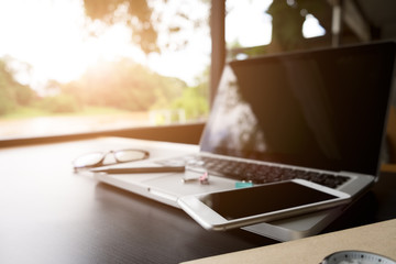 outdoor office desk at early morning