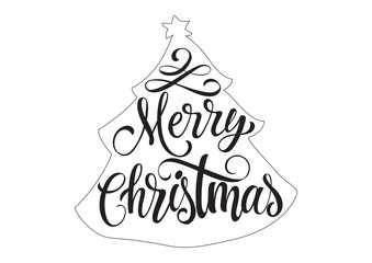 Merry Christmas Lettering in Fir Outline