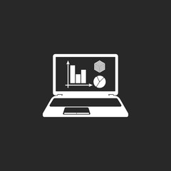 Business graphic charts displayed on laptop simple icon on background