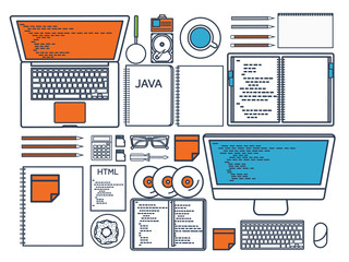 Programming,coding. Flat computing background. Code, hardware,software. Web development. Search engine optimization. Innovation,technologies. Mobile app. Vector illustration. SEO.Line art