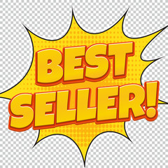 Best Seller. Sale banner. Comic pop art style. Banner design. Banner template. Best product sale.