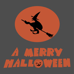 """Vector illustration of a flying witch on a broomstick on the background of the moon with the inscription """"a merry halloween"""""""