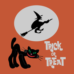 """Vector illustration of a black cat and flying witch on a broomstick on the background of the moon with the inscription """"trick or treat"""""""
