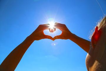 Sky heart hand