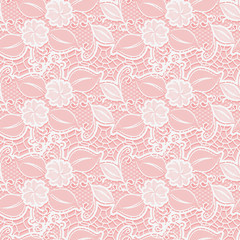 White seamless lace floral pattern on pink background.