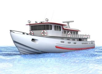 Small ship, the fishing vessel. 3d illustration.