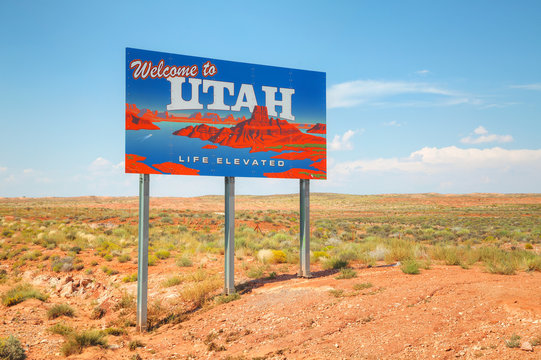 Welcome to Utah road sign
