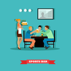 Friends drinking beer and watch a game in sport bar. Vector illustration poster flat style.